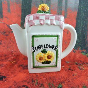 "Other - Ceramic Sunflower Themed Checkered Teapot 7"" Decor"